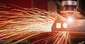 Sparks from Laser Cutting Machine